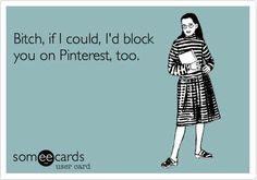 Bitch, if I could, I'd block you on Pinterest, too.