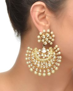 Crescent Moon Shaped Pearl Earrings #Jewelry #Fashion #New #Stones #Studded #Ethnic #Indian #Traditional