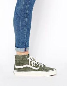 Enlarge Vans SK8 Hi Slim Khaki Hi Top Trainers Sk8 Hi Outfit, Looks Style, Looks Cool, Crazy Shoes, Me Too Shoes, Vans Shoes, Shoes Sneakers, Ladies Sneakers, Vans Sk8 Hi Slim