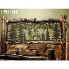This Beaver Creek Aspen Double Metal Insert Log Bed is made from solid Aspen logs and features Metal Lodge Themed Inserts in the headboard and footboard. Perfect for making a statement with any bedroom decor for your cabin, log home, lodge or lake home. Vintage Industrial Furniture, Reclaimed Wood Furniture, Log Furniture, Western Furniture, Modular Furniture, Woodworking Furniture, White Furniture, Furniture Projects, Wood Projects
