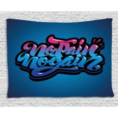 Fitness Tapestry, No Pain No Gain Motivational Quote Graffiti Style Typography Gym Training, Wall Hanging for Bedroom Living Room Dorm Decor, 60W X 40L Inches, Blue Pink Light Blue, by Ambesonne #motivationalfitnessquotes