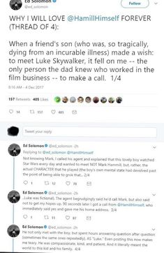 TIL Mark Hamill is The Best (x-post from r/Starwars) Gives Me Hope, Faith In Humanity Restored, Mark Hamill, Cute Stories, Star Wars Humor, Brighten Your Day, Clone Wars, Make A Wish, Good People