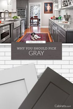 Gray kitchen cabinets are the leading neutral color for modern to traditional kitchens. Choose your favorite shade and style of gray cabinets today! Shaker Kitchen Cabinets, Kitchen Cabinet Styles, Grey Cabinets, Kitchen Redo, New Kitchen, Kitchen Remodel, Kitchen Design, Kitchen Tips, Grey Kitchens
