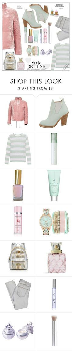 """Puffer Jacket"" by dgia ❤ liked on Polyvore featuring Topshop, Acne Studios, Juvia, SUQQU, Drybar, Radical Skincare, Jessica Carlyle, MCM, Vera Bradley and Current/Elliott"