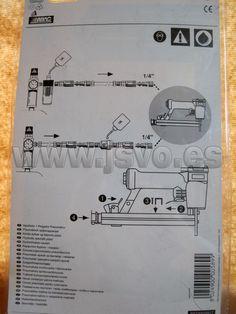 """Grapadora – Clavadora neumática ABAC. Caudal: 0.4 l/puls. Presión máx.: 7 bar (102 psi) Mod.: 8973005917 Compatible con clavos y grapas del calibre 18 (1.26x1.05mm). Clavos F32 10-32mm (13/32"""" - 1¼""""). Grapas 9032 5.7mm x 13-32mm (½"""" - 1¼""""). Interruptor de seguridad para prevenir disparos accidentales. Fabricada en aluminio con empuñadura engomada. www.jsvo.es"""
