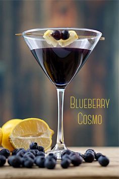 Everyone loves a good Cosmopolitan, but it's so much fun to make variations of the classic Cosmo. The Blueberry Cosmo is incredible! I can't wait to make these for my next Ladies Night! ~By Wet Whistle Drinks by Darla Bentley #cocktail #cosmo #blueberry