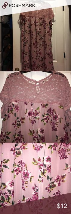 Shift midi dress Preowned- excellent condition- top of dress has lace-like fabric- bottom of dress is lined- button closure at the back of neck- midi in length depending on height- color is rosebud pink AUW Dresses Midi