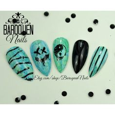 "Cool Watercolor Grunge Nails Teal Drip Marble Nail Art ""Drip Drop""... ($32) ❤ liked on Polyvore featuring beauty products, nail care and nail treatments"