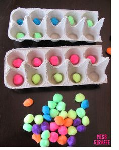 Make ten frames for small groups out of egg cartons and pom pom balls (Building Number Sense in First Grade blog post FILLED with fun math stations and activities)