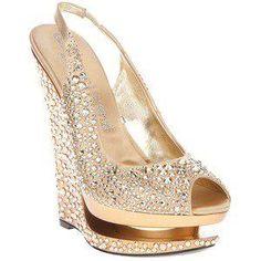 Sparkly gold wedge heels