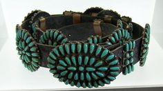 Native American Navajo Concho Belt Sterling Silver Turquoise P Jones 925 Vintage