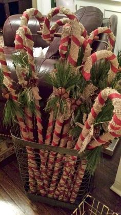 Primitive christmas DIY rustic candy canes Wrap the dollar store plastic candy canes in burlap Buyin Country Christmas Decorations, Homemade Christmas Decorations, Diy Christmas Ornaments, Christmas Projects, Holiday Crafts, Christmas Wreaths, Ornaments Ideas, Primitive Christmas Decorating, Primitive Christmas Crafts