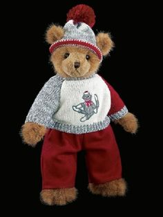 Sammy in his red pants and knit sweater really socks. This Christmas teddy bear…