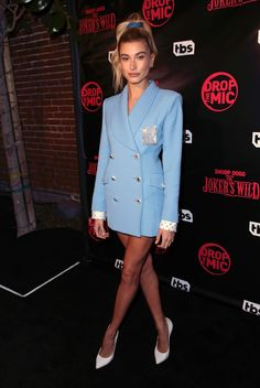 Hailey Baldwin, Blazer Dress, Shirt Dress, Coat Dress, Stylish Suit, Evening Outfits, Jeans Style, Suits For Women, Celebrity Style