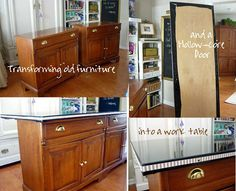 How to make a craft room work table with 2 cabinets and a door