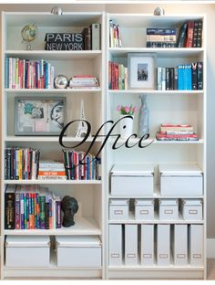 Book shelf organization - all white boxes, magazine holders