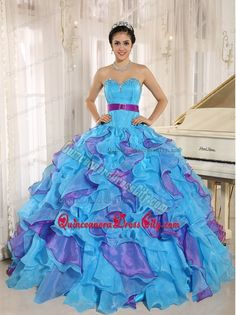 Multi-color Purple Sash Ruffles with Appliques Dress for Quince