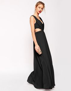 Black ASOS long side cutout maxi dress for evening with deep v