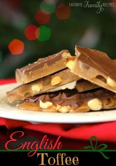This is the best English Toffee recipe I have ever had. It disappears fast! This treat has all my favorites - chocolate, toffee, and nuts!