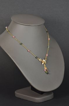 collier feuilles et perles de tourmaline par MichkaCreations