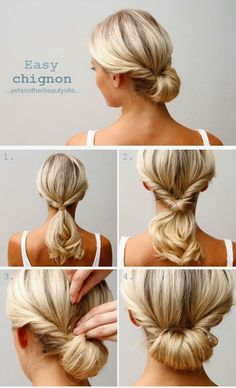 The hairdo wore to the premiere of - Easy Chignon Hair Tutorial Updo Hairstyles Tutorials, 5 Minute Hairstyles, Pretty Hairstyles, Hairstyle Ideas, Hair Ideas, Braided Hairstyles, Simple Hairstyles For Medium Hair, Easy Professional Hairstyles, Updos For Medium Length Hair Tutorial