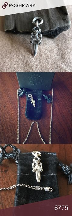 Chrome Hearts Dagger & Chain with original box Dagger- 8 Diamonds .925 Silver.   Chain 16 inches marked CH (Chrome Hearts) .925. Original black box and little suede bag for Dagger. This piece is UNISEX. More pictures upon request. Chrome Hearts Accessories Jewelry