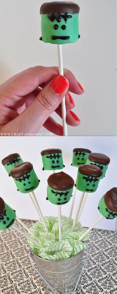 Frankenstein Marshmallow Pops #halloweenparty #Frankensteinpops #halloweentreats