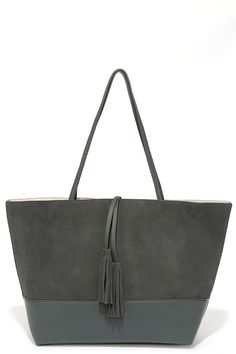 Attitude of Gratitude Dark Grey Suede Tote Attitude Of Gratitude, Girl Things, Designer Bags, Large Bags, Baggage, Beautiful Bags, Leather Bags, Purse Wallet, Dark Grey