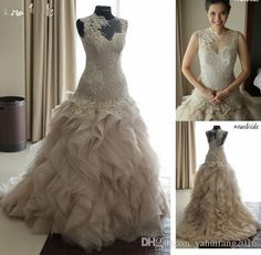 2016 Ball Gown Vintage Sexy Crew Neckline See Through Appliques Lace Wedding Dresses Bridal Gown With Ruffle Layered Beading Chapel Train Ball Gown Wedding Dresses 2016 Dress Floor Length Bridal Gowns Online with $269.33/Piece on Yahuifang2016's Store | DHgate.com