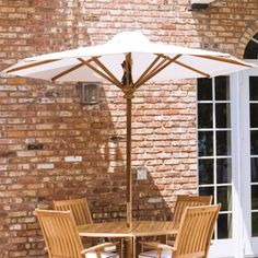 The 8 ft diameter Teak Umbrella is made of Certified Teak Wood and Premium Sunbrella Fabric. This teak umbrella is built to last a lifetime and backed by our Lifetime Warranty. Round Wood Mirror, Round Wooden Tray, Round Wood Coffee Table, Teak Dining Table, Patio Table, Outdoor Dining, Outdoor Decor, Ikea Garden Furniture, Teak Furniture