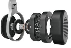 An exploded view of the ear-cups show the components that KEF has used in the manufacture of the M500.