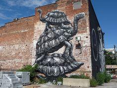 Turtle graffiti/street art by Roa- Philadelphia, PA 2013