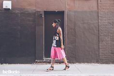 Fashion Blogger Streetwear fashion Trend Half bun Denis Gagnon Pleated midi skirt celine metallic Alexander Wang Jade Sandals @elodielaetitia - Hello Elo