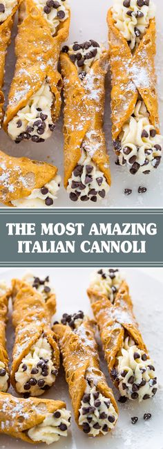 Homemade Italian Canolis to be served at the dessert station. Italian Desserts, Fun Desserts, Dessert Recipes, Homemade Cannoli Recipe, Homemade Breads, Sicilian Recipes, Sicilian Food, Cannoli Dessert, Yummy Snacks