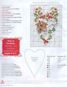 0 point de croix grille et couleurs de fils coeur chalet hiver