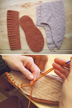 upcycled slippers << felted wool sweaters
