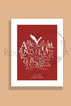 Teachers A to Z Appreciation Print  C- Personalized with Teacher's Name - Teacher Christmas Gift - School Year From Class
