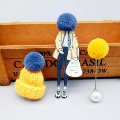 Cute set of 3 pins: girl wearing large winter cap, cap with pompom and pompom pin.Add unique element to your winter outfit! Girls Wear, Animal Design, Powerful Women, Boho Fashion, Winter Outfits, Body Jewelry, Jewellery, Bracelets, Necklaces