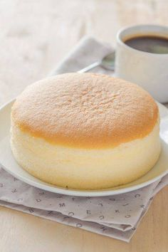 Close up of Japanese cotton cheese cake with black coffee