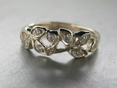 Engagement ring or anniversary ring.14k white by ValerieKStudio, $625.00