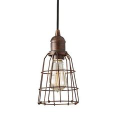 We have two of these in shiny silver nickel. Could go over a kitchen island/peninsula, or in a bathroom or bedroom. The Urbanite Wire Cage Pendant Light