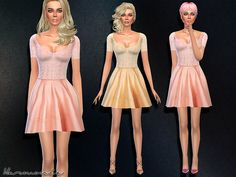 The Sims Resource: Sequin Bodice Skater Dress by Harmonia • Sims 4 Downloads
