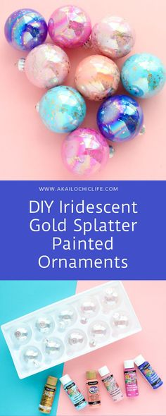 DIY Iridescent Gold Splatter Painted Ornaments - A Kailo Chic Life Clear Christmas Ornaments, Felt Christmas Decorations, Glass Christmas Tree Ornaments, Hand Painted Ornaments, Diy Ornaments, Xmas Baubles, Beaded Ornaments, Christmas Crafts For Kids To Make, Christmas Ideas
