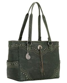 Bandana by American West Breckenridge Forest Green Carry-On Tote features a main zippered compartment, 2 large magnetic closure compartments, a zippered pocket and two pouches on the inside. This faux leather bag features scalloped, floral-tooled trim accented with studs and a slotted concho with a tassel.  | Country Chic casual fashion accessories for women Casual Outfits for women #countryoutfit #countrygirl drysdales.com #CountryFashion gifts for ladies cowgirl ladies #Winter2015