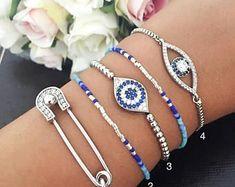 Silver evil eye bracelet, safety pin bracelet, zirconia evil eye bracelet, silver evil eye jewelry, beaded evil eye bracelet, luck bracelet