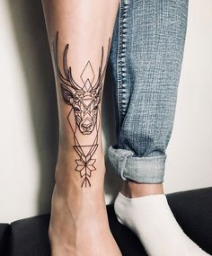 deer tattoo on leg