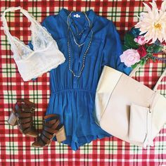 Picnic ready!!  || In Your Day Dream Chambray Romper $38 || Halter Lace Bralette Midlength $22 || The Goldie Necklace $22.10 || Weekend In Soho Tote $48 || Munchkin Heel By @bcfootwear $79 || #ShopImpressions #BCstyle #Picnic #Summer #MustHave #Fun #FunInTheSun