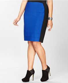 INC INternational Concepts Plus Size Skirt, Colorblock Pencil - Womens Skirts - Macy's