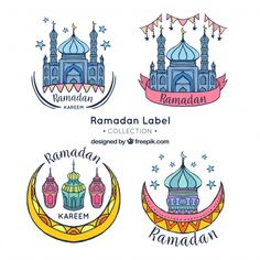 Pretty hand drawn ramadan stickers Free Vector