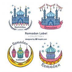 Pretty hand drawn ramadan stickers Free Vector